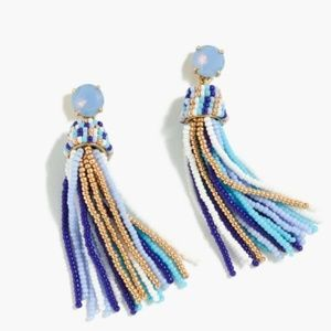 NWT JCREW FUN BEADED TASSEL EARRINGS